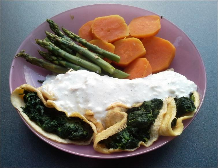 Click image for larger version.  Name:2-SPINACHOMELETTESWITHGARLICCHEESESAUCE-SWEETPOTATOANDASPARAGUS-1.jpg Views:108 Size:76.4 KB ID:126205